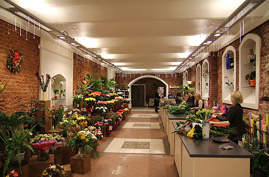 Дизайн интерьера магазина Цветы у яблоньки расположенного в подвальном помещении старого дома выполнен в стиле лофт